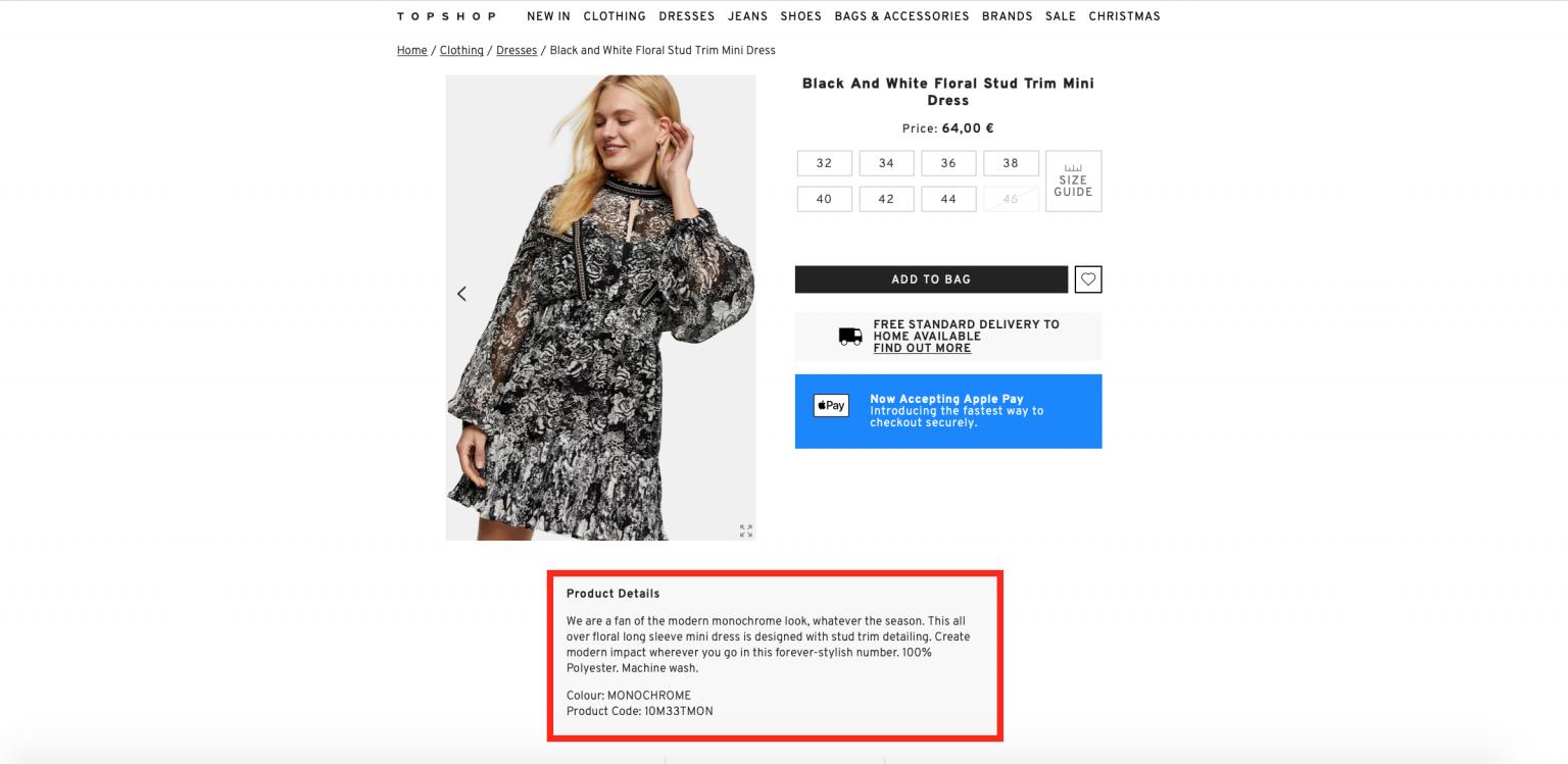 automated product descriptions