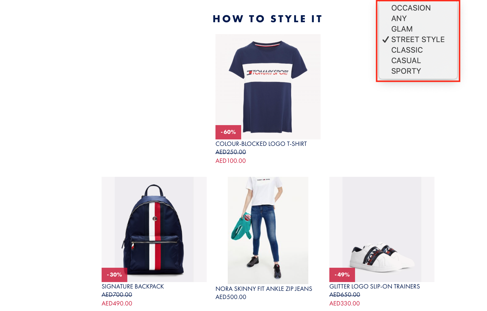 complete the look recommendations layout Tommy Hilfiger